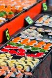 Japanese Sushi. Different Styles of Japanese Sushi on the black square dish Stock Photo