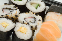 Japanese sushi. With chopsticks on a white plate royalty free stock image