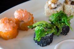 Japanese sushi. (isolated in black Stock Photography