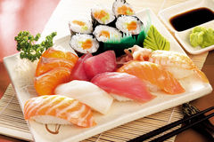 Japanese sushi. Food shot setting stock image