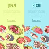 Japanese sushi advertising with asian dishes. Japanese sushi advertising with famous asian dishes. Oriental delicious food menu vector illustration. Octopus Royalty Free Stock Image