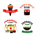 Japanese sushi and asian food  icon set. Japanese and asian food  icon set. Sushi roll and temaki sushi with rice, fish, seafood noodle in takeaway paper box Stock Image