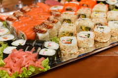 Japanese sushi. Assortment of traditional japanese sushi Royalty Free Stock Photo