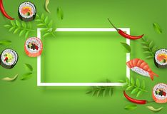Japanese sushi banner with rolls, ebi nigiri, avocado and chili pepper isolated on gradient green background. vector illustration