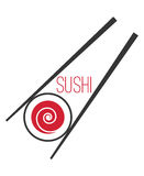 Japanese sushi bar food logo template. Traditional asia restaurant, vector illustration Royalty Free Stock Images