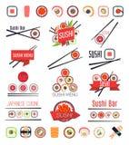 Japanese sushi bar or restaurant menu vector set Stock Images