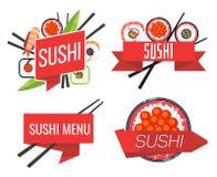 Japanese sushi bar or restaurant menu vector set Royalty Free Stock Photo