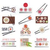 Japanese sushi bar or restaurant menu vector set Royalty Free Stock Photos