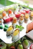 Japanese sushi at buffet Stock Photo
