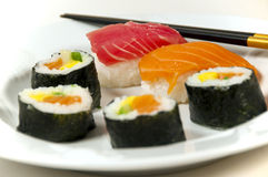 Japanese sushi with chopsticks Royalty Free Stock Image