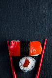Japanese sushi with chopsticks from above Stock Photography