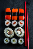 Japanese sushi with chopsticks from above Stock Photos