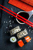 Japanese sushi with chopsticks from above Stock Image