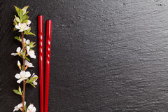 Japanese sushi chopsticks and sakura blossom Royalty Free Stock Photography