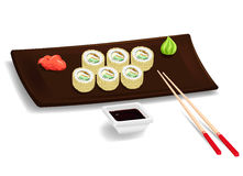 Japanese sushi with chopsticks Royalty Free Stock Images