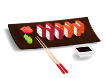 Japanese sushi with chopsticks Stock Photos