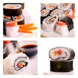 Japanese sushi collage Royalty Free Stock Images