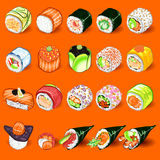 Japanese Sushi Collection Set Stock Photography