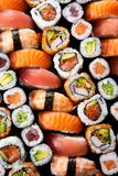 Top view of japanese sushi collection stock photo
