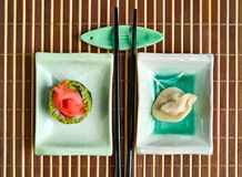 Japanese sushi and dumpling Royalty Free Stock Photos