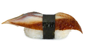 Japanese sushi with eel. On white background Stock Photo