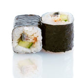 Japanese sushi with eel and cucumber Royalty Free Stock Images