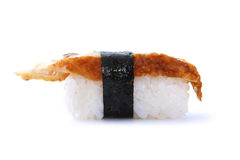Japanese sushi with eel fish. On white background Stock Photos