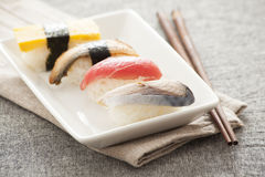 Japanese Sushi - Egg, Tuna, Eel, Swordfish Stock Photo