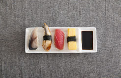 Japanese Sushi - Egg, Tuna, Eel, Swordfish Royalty Free Stock Photos