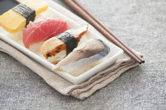 Japanese Sushi - Egg, Tuna, Eel, Swordfish Royalty Free Stock Photo