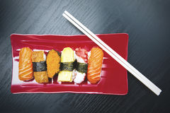 Japanese sushi food over the table Royalty Free Stock Photos