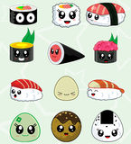 Japanese sushi food vector icons set Stock Image