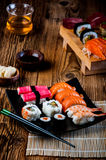 Japanese sushi, oriental seafood Royalty Free Stock Photography