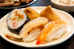 Japanese sushi plate. In a restaurant Stock Image