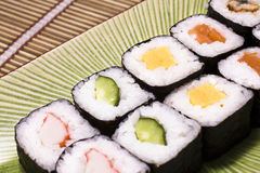 Japanese sushi on a plate Royalty Free Stock Photos