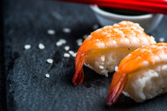 Japanese sushi with prawn Royalty Free Stock Image