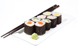 Japanese sushi ready to eat isolated Stock Photography