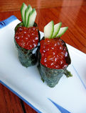 Japanese sushi with red caviar Royalty Free Stock Photography