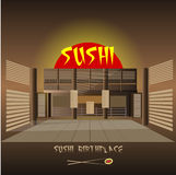 Japanese sushi restaurant interior design Royalty Free Stock Photography