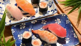Japanese sushi. Restaurant, laid table stock footage