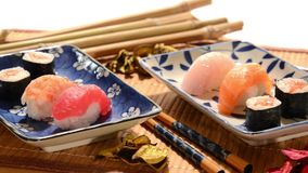 Japanese sushi. Restaurant, laid table stock video