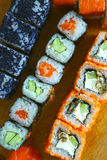 Japanese sushi roll set in row Royalty Free Stock Photography