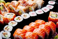Japanese sushi rolls. Royalty Free Stock Photo