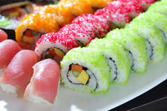 Japanese sushi rolls. Delicious menu Stock Image
