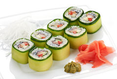 Japanese sushi rolls. Stock Photos