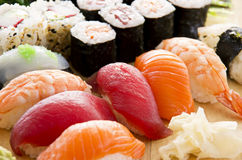 Japanese Sushi and Rolls Royalty Free Stock Photo