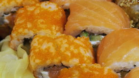 Japanese Sushi Rolls close-up is Moving stock footage