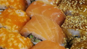 Japanese Sushi Rolls close-up is Moving stock video footage