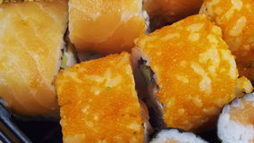 Japanese Sushi Rolls Close-up Rotates stock footage