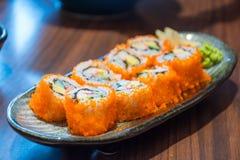 Japanese sushi rolls. On dish Royalty Free Stock Photo